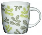 Kitchen Craft Bone China 425ml Barrel Shaped Mug - Green Leaves