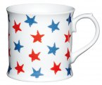 Kitchen Craft Porcelain 400ml Tankard Shaped Mug - Red and Blue Stars
