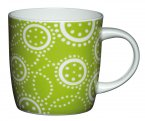 Kitchen Craft Bone China Barrel Shaped Mug 425ml Green Circles