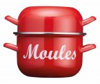 KitchenCraft World of Flavours Red Enamel Mussel Pot 2.5 Litres