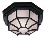 Searchlight Outdoor 1 Light Black Hexagonal Flush Ceiling Light