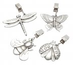 Kitchen Craft Solid Pewter Insect Table Cloth Weights, Pack of 4