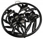 Apollo Cast Iron Round Trivet with Flowers Black