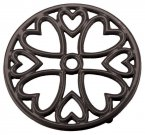 Apollo Cast Iron Round Trivet with Hearts Black 14.5cm