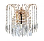 Searchlight Waterfall 2 Light Gold Plated Wall Light with Crystal Trimmings