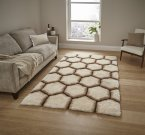 Think Rugs Noble House NH30782 Cream/Brown - Various Sizes