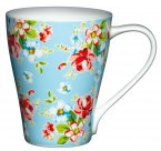 Kitchen Craft Bone China 390ml Wave Shaped Mug - Blue Floral