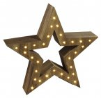 Dar Lighting LED Wooden Star Brown