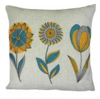 Evans Lichfield Norsk Cushion 43cm Floral Teal Ochre