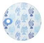 KitchenCraft Round Toughened Glass Worktop Protector Fish 24cm