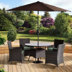 Alberi Rattan Round Table Set with 4 Cushioned Chairs