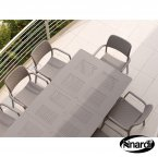 Nardi Turtle Dove Libeccio Table with 6 Bora Chair Set