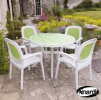 Nardi Toscana 100 Table Décor & 4 Beta Chairs - White & Lime