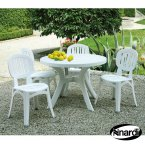 Nardi White Toscana 100 Plain with 4 Elba Chair Set