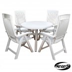 Nardi White Toscana 100 Plain with 4 FLORA Chair Set