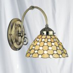 Searchlight 1 Light Clear Raindrop Tiffany Antique Brass Wall Bracket