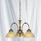 Searchlight 3 Light Clear Raindrop Tiffany Pendant in Antique Brass