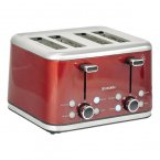 Brabantia 4 Slice Toaster Brushed Stainless Steel & Red