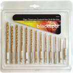 Blackspur 13 Piece Titanium Coated Hex Drill Bit Set