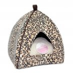 Petface Mollies Faux Suede Leopard Igloo Cat Bed