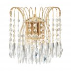 Searchlight Waterfall 2 Light Gold Wall Light with Crystal Buttons & Drops