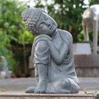 Solstice Sculptures Buddha Crouching Grey Charcoal Effect