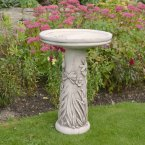 Solstice Sculptures Floral Bird Bath Antique Stone Effect