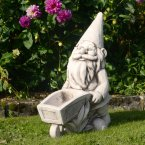 Solstice Sculptures Wheelbarrow Gnome Antique Stone Effect