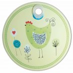 KitchenCraft Round Toughened Glass Worktop Protector Chicken 24cm