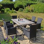 Byron Manor Burlington Dining Table with 6 Stockholm Black Chairs