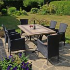 Byron Manor Charleston Dining Table with 6 Stockholm Black Chairs