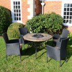 Byron Manor Colorado Fire Pit Table with 4 Stockholm Black Chairs