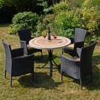 Byron Manor Langley Dining Table with 4 Stockholm Black Chairs