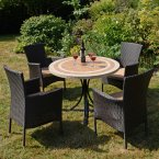 Byron Manor Langley Dining Table with 4 Stockholm Brown Chairs