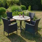 Byron Manor Monterey Dining Table with 4 Stockholm Black Chairs