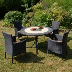 Byron Manor St Malo Dining Table with 4 Stockholm Black Chairs