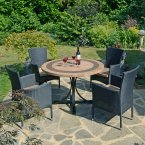 Byron Manor Vermont Dining Table with 4 Stockholm Black Chairs