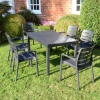 Trabella Roma Rectangular Table with 6 Siena Chairs Set Anthracite