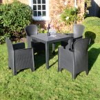 Trabella Roma Square Table with 4 Sicily  Chairs Set Anthracite
