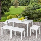 Trabella Roma Rectangular Table with 4 Roma Bench Set White
