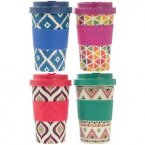 Lesser & Pavey Eco Bamboo Travel Mug 350ml - Geometric Designs