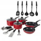 Morphy Richards 5 Piece Pan Set Red
