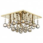 Dar Abacus 4 Light 300mm Square Flush Gold Ceiling Light