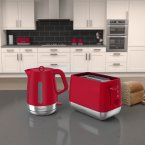 Morphy Richards Chrome Toaster and Kettle Set Poppy Red