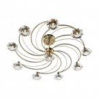 Dar Luther 10 Light Semi Flush Complete with Crystal Glass Antique Brass