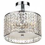 Dar Rhodes 3 Light Semi Flush Polished Chrome/ Clear IP44