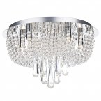 Dar Saigon 5 Light Flush Polished Chrome/Clear