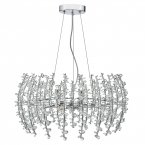 Dar Sestina 6 Light Pendant Polished Chrome Complete with Crystal Beads