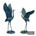 Solstice Sculptures Cranes Pair Outstretched Wings Statue - Gold Verdigris