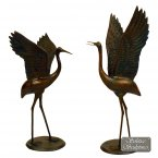Solstice Sculptures Cranes Pair Outstretched Wings Statue - Dark Verdigris